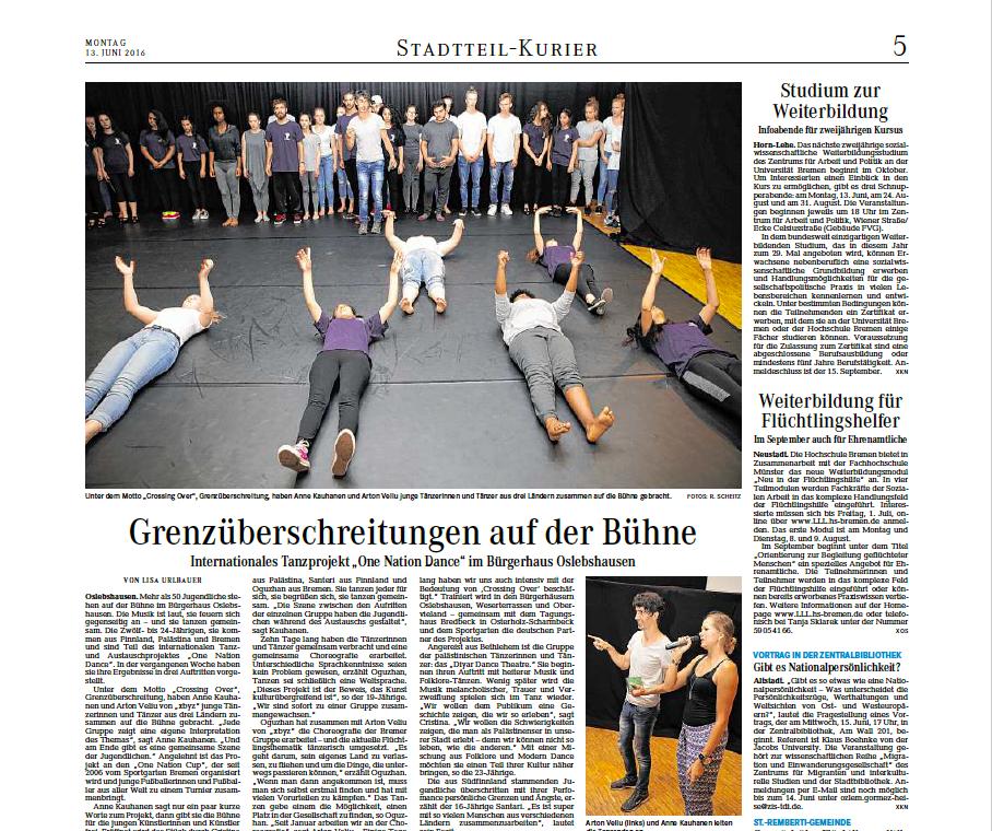 """13.06.2016 """"Grenzüberschreitungen auf der Bühne"""""""