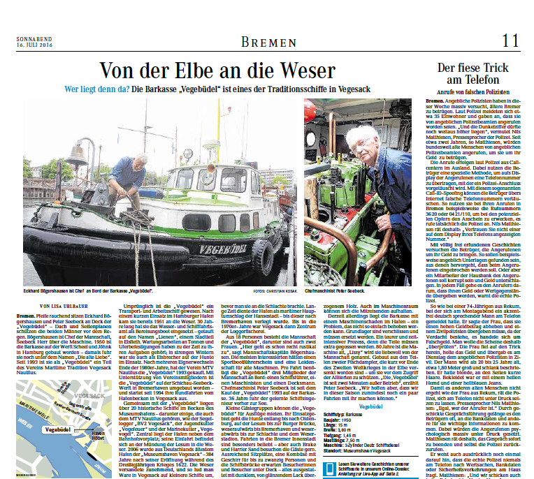 """16.07.2016 """"Von der Elbe an die Weser"""""""