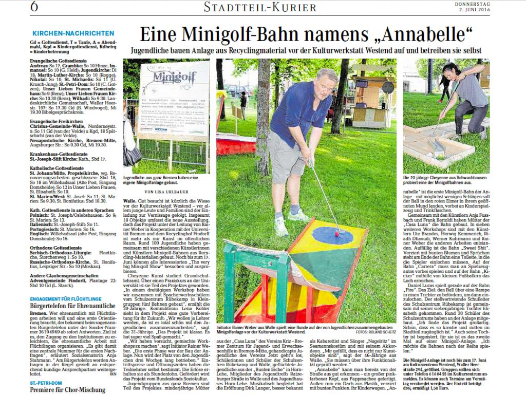 """02.06.2016 """"Eine Minigolf-Bahn namens Annabelle"""""""