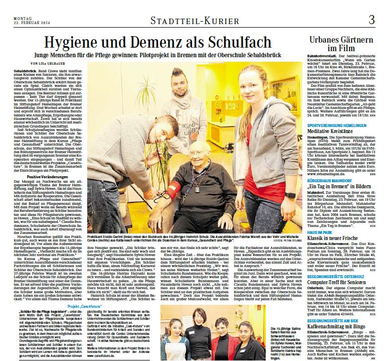 """22.02.2016 """"Hygiene und Demenz als Schulfach"""""""
