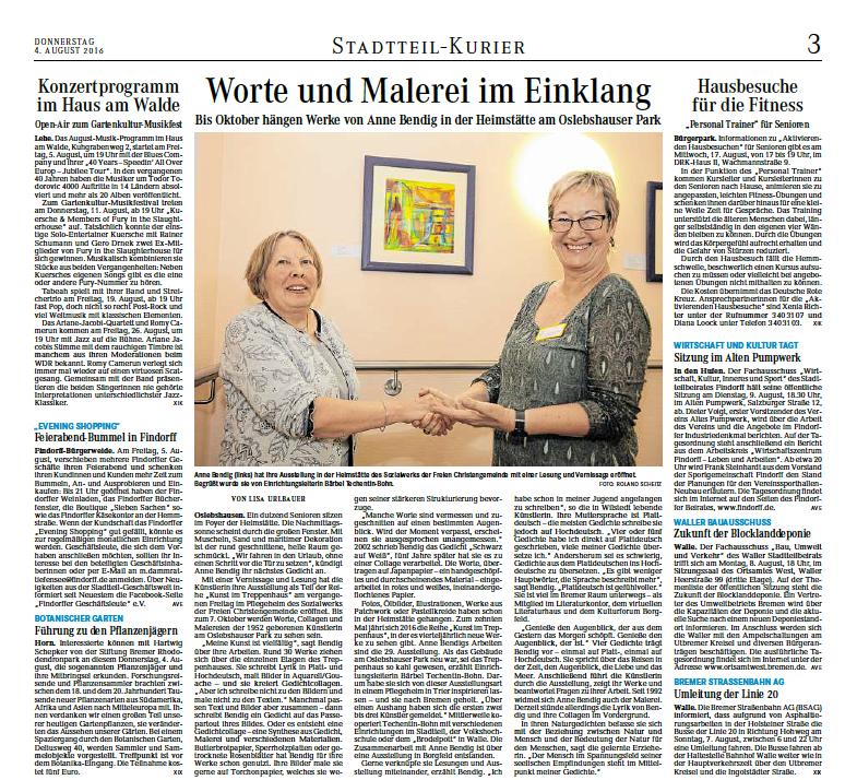 """04.08.2016 """"Worte und Malerei im Einklang"""""""